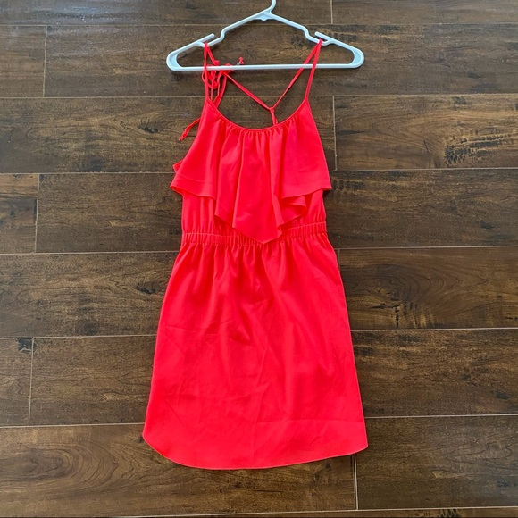 American eagle outfitters pink ruffle dress Xs